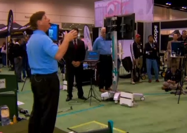 Photo of the Golf Channel team which included FlightScope launch monitors in its wrap-up of the PGA Merchandise Show.