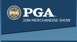 Logo of the 2014 PGA Merchandise Show where FlightScope exhibited its launch monitors and other products.