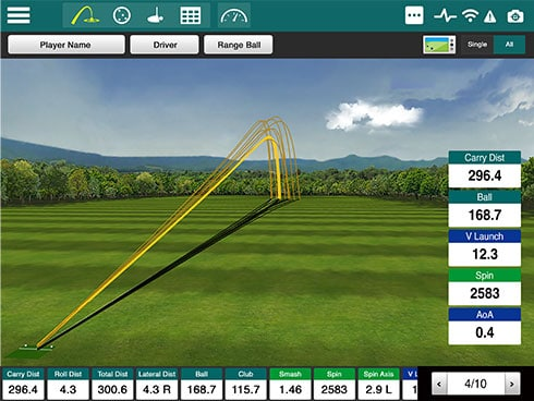 Screencap showing the FlightScope Xi + launch monitor / golf ball tracker's real-time data tracking feature.