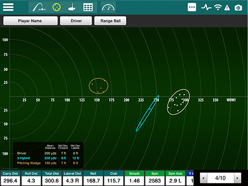 Screencap showing the shot grouping feature of the FlightScope Xi+ launch monitor / golf ball tracker's complementary app.