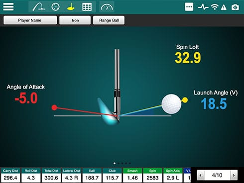 Screencap showing the 2D Swing Analysis feature of the FlightScope Xi launch monitorr / golf ball tracker.