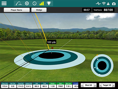 Screencap showing the real-time tracking feature of the FlightScope Xi + launch monitor / golf ball tracker's complementary Skills app.