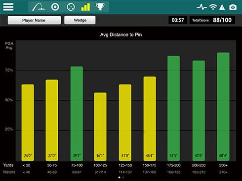 Screencap showing the Combine feature of the FlightScope Xi launch monitor / golf ball tracker's complementary Skills app.