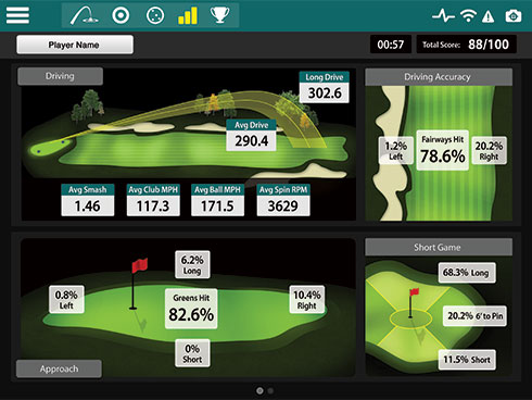 Screencap showing sample data sets from the FlightScope Xi and Xi + launch monitors' complementary Skills app.