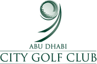 Logo of the Abu Dhabi City Golf Club where PGA professionals showed how FlightScope launch monitors can be used for club fitting and golf lessons.
