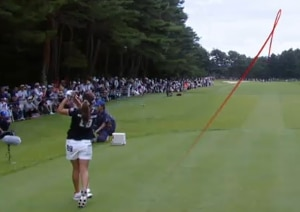 Photo showing FlightScope launch monitors measuring shots at the NEC Karuizawa 72 Golf Tournament which Lee Bo Mee won.