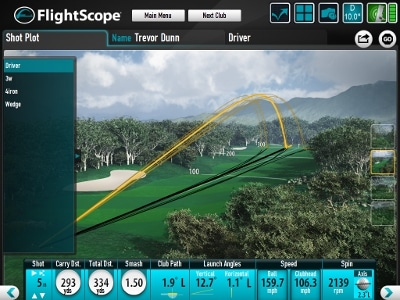 Photo showing sample data from the FlightScope launch monitor PC software.