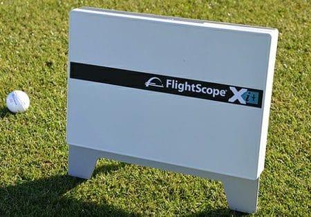 Photo of the FlightScope Xi+ launch monitor / golf ball tracker that the new spin measuring method of which FlightScope patented.