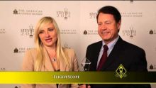 FlightScope executives being interviewed following the FlightScope Xi launch monitor's win at the Stevie Awards.