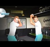 Photo of the Me and MyGolf Team challenging each other on the FlightScope VX2 application.