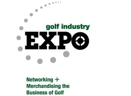 Logo of the Golf Industry Expo where FlightScope will be exhibiting its line of launch monitors / golf ball trackers.