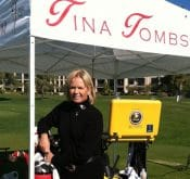 Photo of Teacher of the Year Tina Tombs who uses her FlightScope launch monitor in student instruction and skill development.