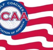 Logo of Golf Coaches Association of America, the convention of which will exhibit the FlightScope App.