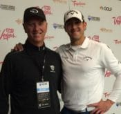 Photo of FlightScope launch monitor user Tony Luczak and Long Drive player Jeff Flagg at the 2014 Re/Max WLD Championship.