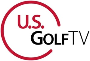 Logo of US Golf TV, one of the many partners and users of FlightScope launch monitors / golf ball trackers.
