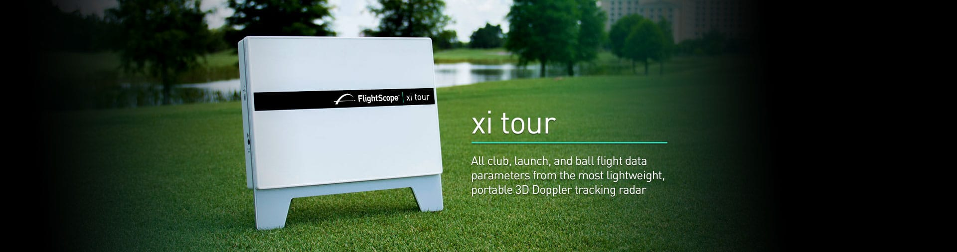Product photo showing the Flightscope Xi Tour launch monitor/ golf ball tracker.