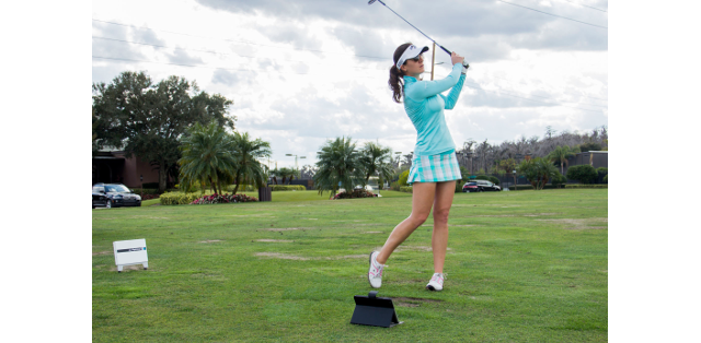 Photo of FlightScope Tour Player Sandra Gal who is featured in the Sandra Gal FlightScope Skills Challenge.