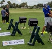 Photo showing the Cobra Golf Event where the FlightScope Team created custom Skills challenges for the participants.