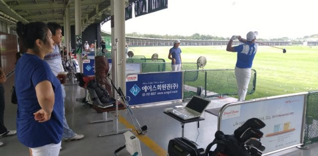 Photo showing FlightScope launch monitors / golf ball trackers being used at a South Korean golf event.