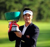 FlightScope Tour Player Hyung-Sung Kim holding his trophy from the Top Cup Tokai Classic.