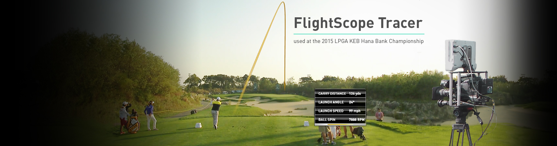Photo showing the FlightScope Tracer golf club and ball tracking technology in action.