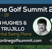 Photo promoting PGA Master Professional John Hughes and FlightScope USA Sales Manager Alex Trujillo's attendance at the Online Golf Summit 2015.