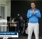 Video of FlightScope launch monitor / golf ball tracker user Peter Finch showing how to control ball flight between high and low trajectories.