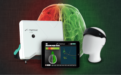 Product photo showing a FlightScope golf launch monitor, a FocusBand, and a FlightScope-compatible mobile device.