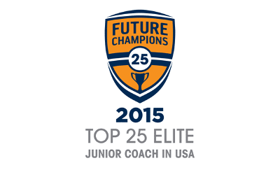 Logo of the Top 25 Elite Junior Coach in the USA which honored FlightScope representatives Phil Dawson and Elena King with the Future Champions award.