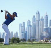 Photo of FlightScope Tour Player Danny Willett winning the 2016 OMEGA Dubai Desert Classic.