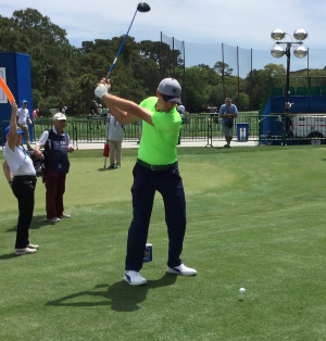 Bryson DeChambeau at the RBC Heritage where he shares how he uses the FlightScope launch monitor to test his club.