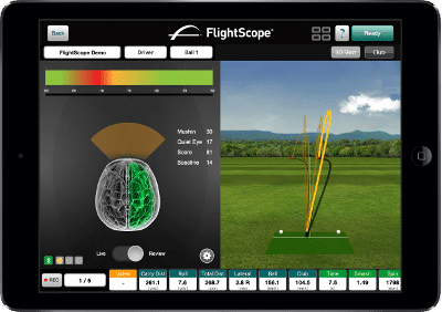 Photo showing the integration between FlightScope launch monitors / golf ball trackers and FocusBand.
