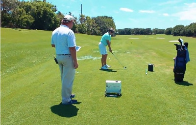World Golf Hall of Famer Mike Adams showing how he uses the FlightScope apps and FocusBand in golf lessons.