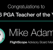 Photo of Flightscope congratulating Flightscope Advisory Board member Mike Adams for being named 2016 PGA Teacher of the Year