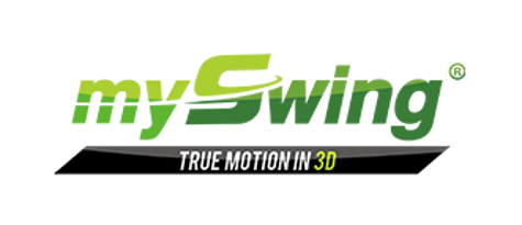 Logo of MySwing, a 3D motion capture tool that complements Flightscope's launch monitors.