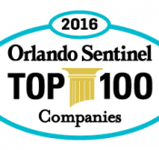 Logo of Orlando Sentinel which named Flightscope as one of its Top 100 Companies