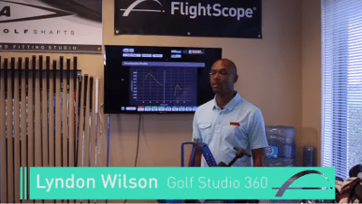 FlightScope Advisory Board member Lyndon Wilson explaining how he uses Flightscope launch monitors for club fitting