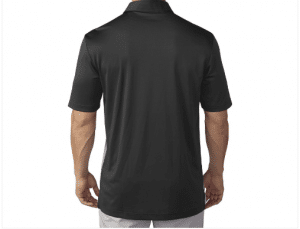 Product photo showing a black men's polo Flightscope shirt from the Flightscope store