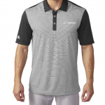 Product photo showing a black and grey striped men's polo Flightscope shirt from the Flightscope store