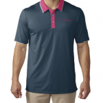 Product photo showing a mineral blue and pink men's polo Flightscope shirt from the Flightscope store