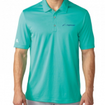 Product photo showing a mint green men's polo Flightscope shirt from the Flightscope store