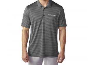 Product photo showing a grey striped men's polo Flightscope shirt from the Flightscope store