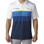 Product photo showing a white and blue striped men's polo Flightscope shirt from the Flightscope store