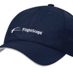 Product photo showing a blue Flightscope baseball cap from the Flightscope store