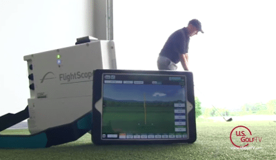 Todd Kolb demonstrating how Flightscope launch monitors can be used to conduct golf drills