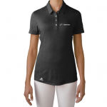 Product photo showing a black women's polo Flightscope shirt from the Flightscope store