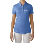 Product photo showing a blue women's polo Flightscope shirt from the Flightscope store