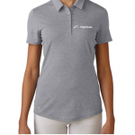 Product photo showing a grey women's polo Flightscope shirt from the Flightscope store