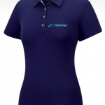 Product photo showing an indigo women's polo Flightscope shirt from the Flightscope store