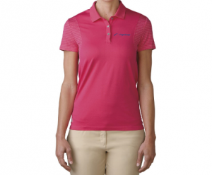 Product photo showing a pink women's polo Flightscope shirt from the Flightscope store